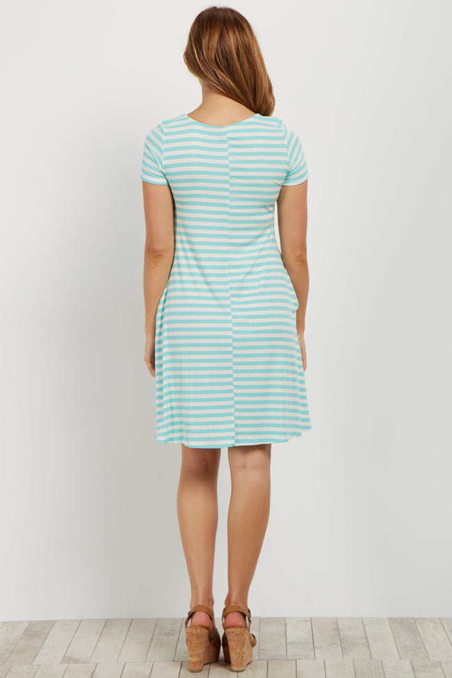 Mint Striped Crisscross V Neck Maternity Dress