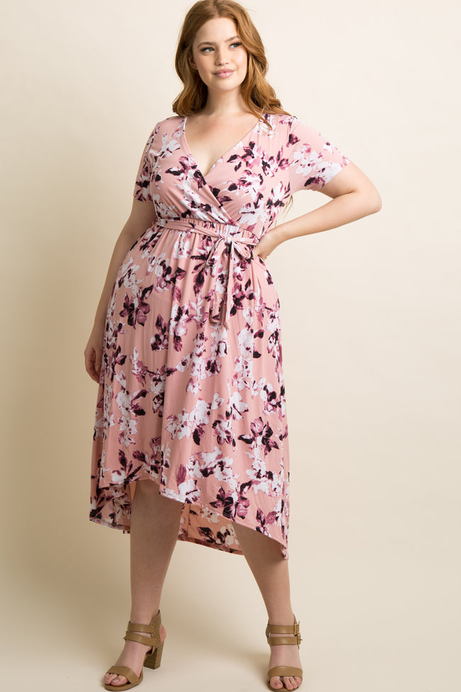 Light Pink Floral Hi-Low Plus Wrap Dress