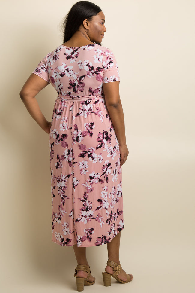Light Pink Floral Hi-Low Plus Maternity Wrap Dress
