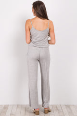 Heather Grey Solid Cami Jumpsuit