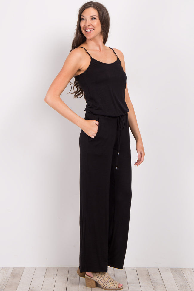Black Solid Cami Jumpsuit