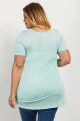 Mint Basic Crisscross Front Plus Maternity Tee