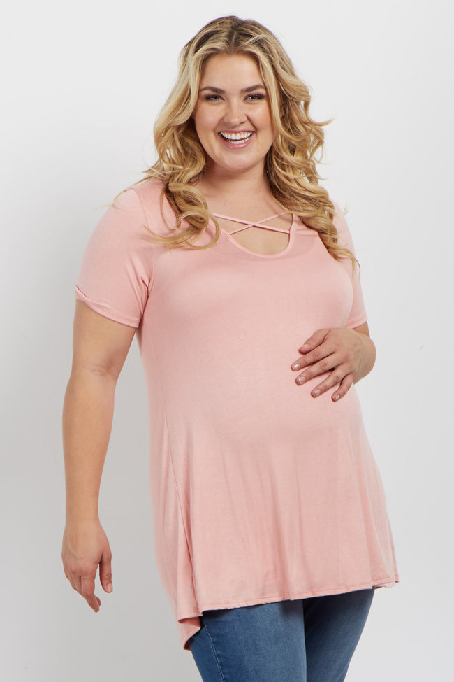 Pink Basic Crisscross Front Plus Maternity Tee