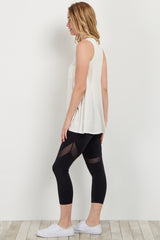 Black Mesh Accent Active Cropped Leggings