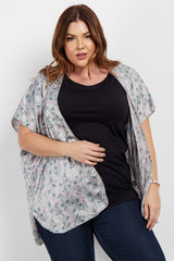 Grey Floral Satin Plus Maternity Cover Up