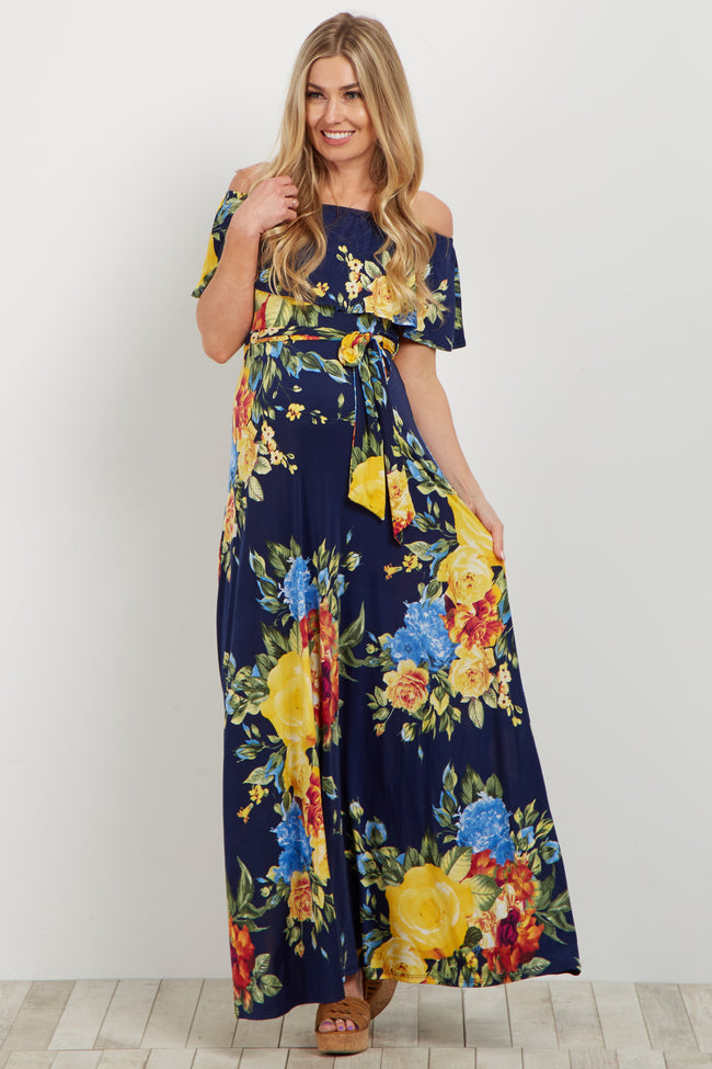 Navy Yellow Floral Off Shoulder Sash Tie Maternity Maxi Dress