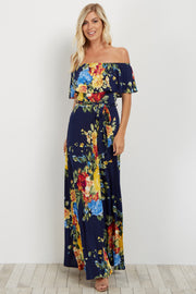 Yellow Floral Off Shoulder Sash Tie Maxi Dress