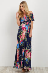 Navy Pink Floral Off Shoulder Sash Tie Maternity Maxi Dress