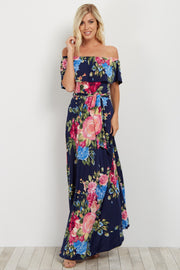 Fuchsia Floral Off Shoulder Sash Tie Maxi Dress