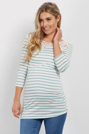 Mint Striped Crochet Accent 3/4 Sleeve Maternity Top