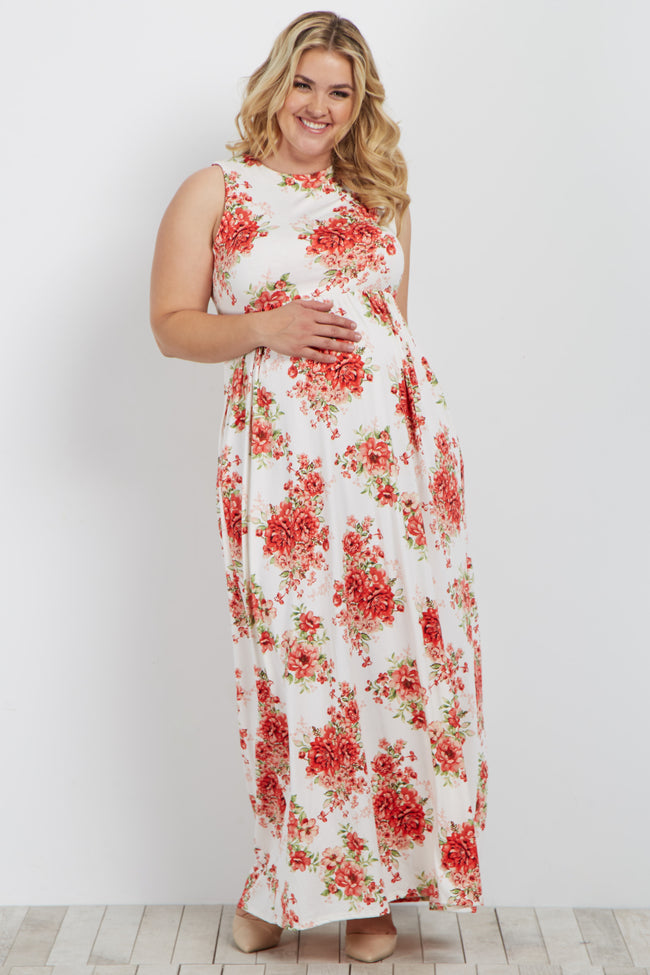 Ivory Floral Sleeveless Plus Maternity Maxi Dress