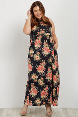 Black Floral Sleeveless Plus Maternity Maxi Dress