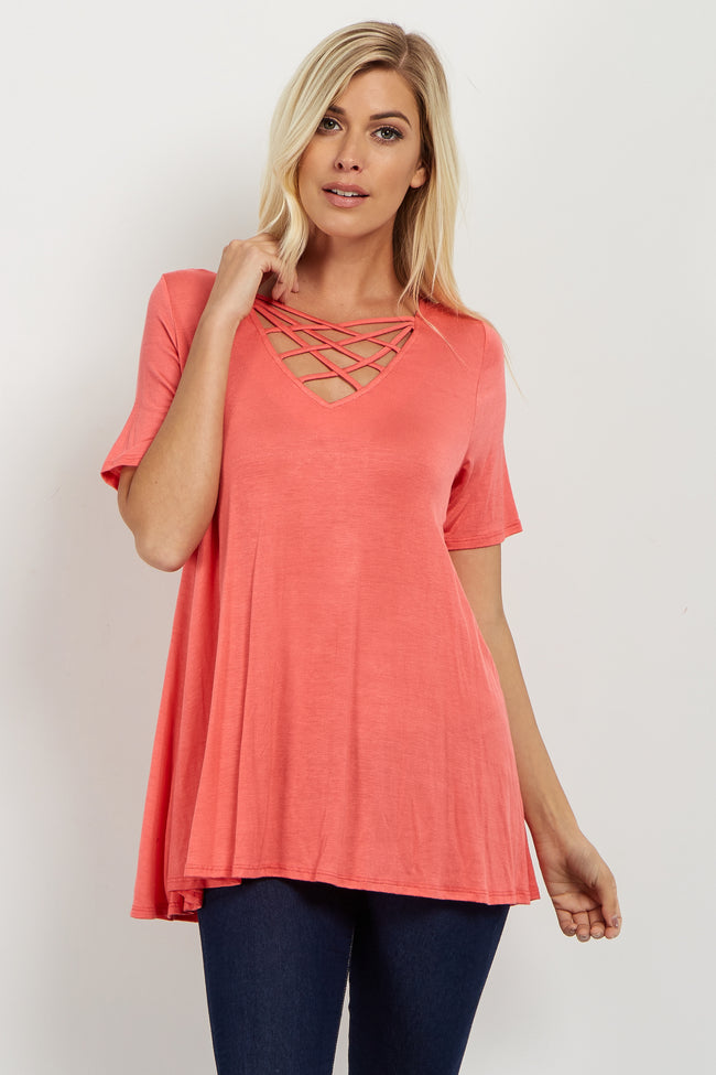 Coral Solid Caged Front Top