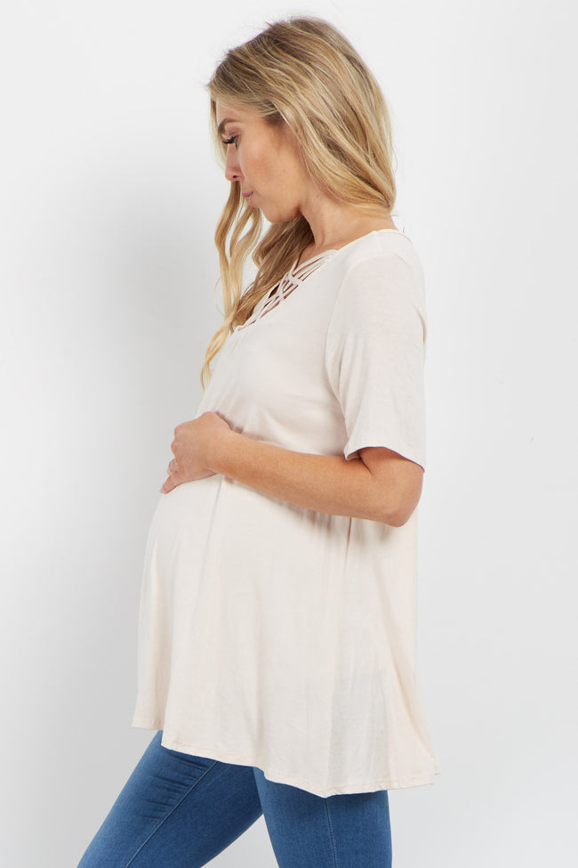 Cream Solid Caged Front Maternity Top