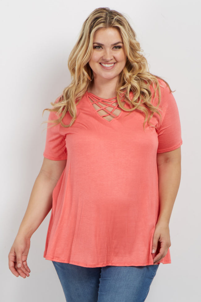 Coral Solid Caged Front Plus Maternity Top