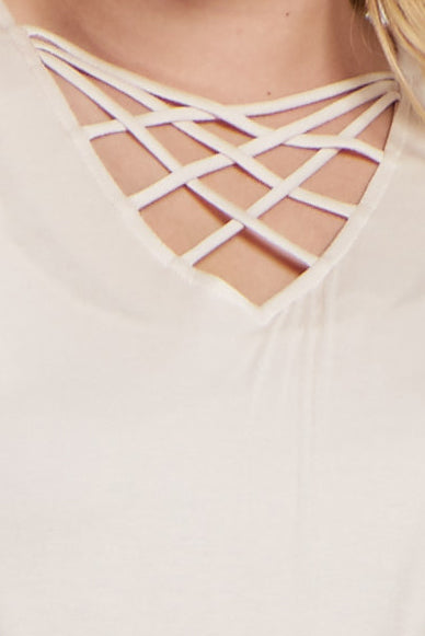Cream Solid Caged Front Plus Maternity Top