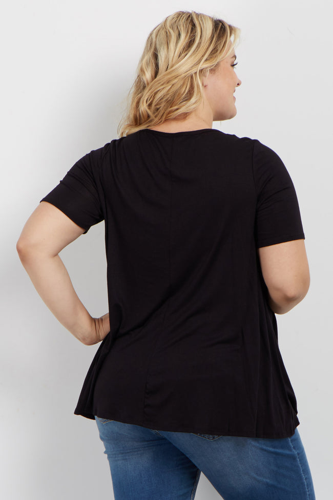 Black Solid Caged Front Plus Maternity Top