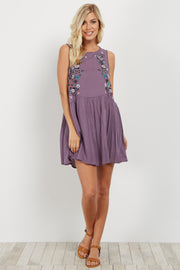 Purple Floral Embroidered Dress