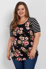 Black Floral Striped Colorblock Short Sleeve Plus Maternity Top