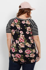 Black Floral Striped Colorblock Short Sleeve Plus Top