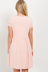 PinkBlush Pink Solid Crochet Trim Maternity Shift Dress