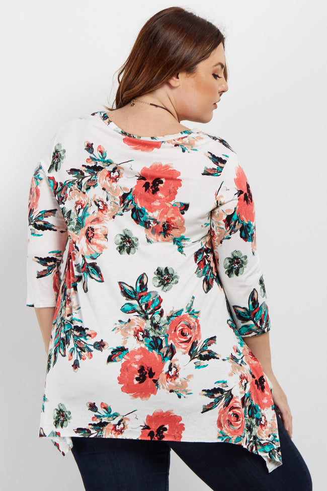 Ivory Floral Asymmetrical Plus Top