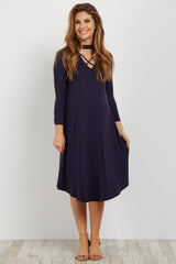 Navy Mock Neck Crisscross Cutout Maternity Dress