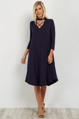 Navy Mock Neck Crisscross Cutout Dress