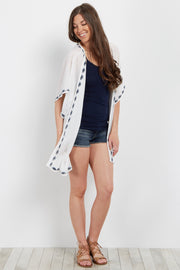 White Embroidered Trim Smocked Kimono