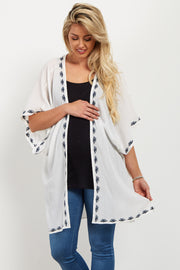 White Embroidered Trim Smocked Maternity Kimono