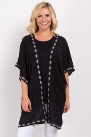 Black Embroidered Trim Smocked Kimono