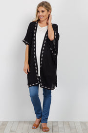Black Embroidered Trim Smocked Maternity Kimono