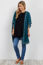 Forest Green Embroidered Trim Smocked Maternity Kimono