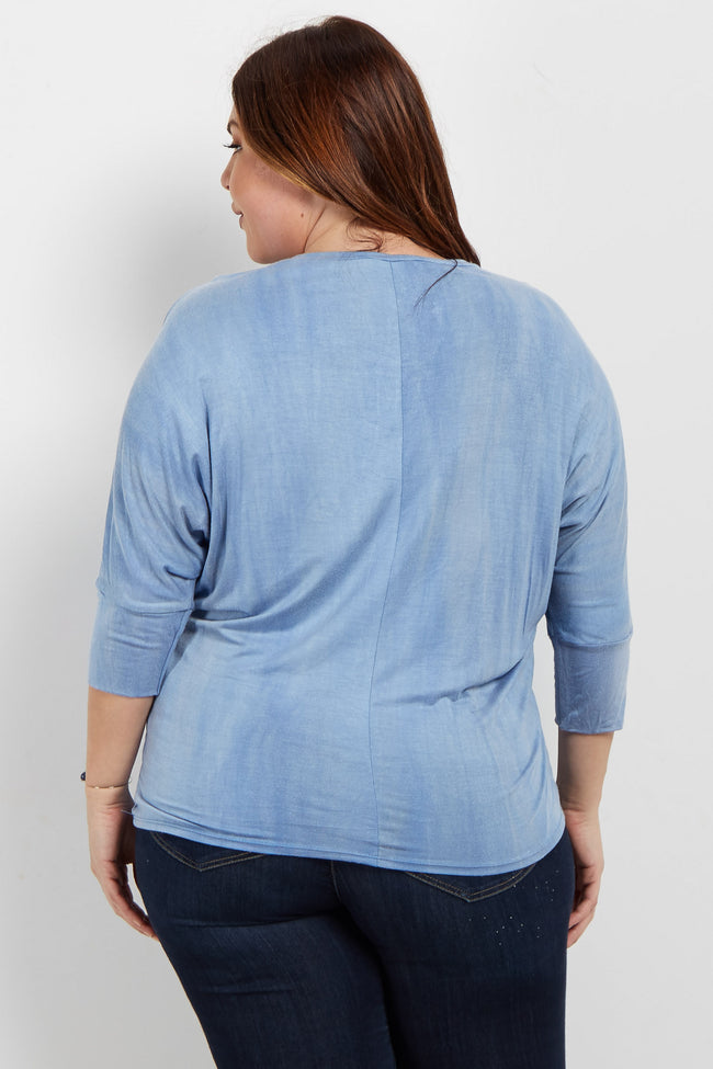 Blue Crisscross Cutout Dolman Sleeve Plus Top