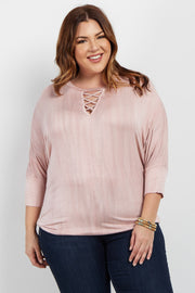 Pink Crisscross Cutout Dolman Sleeve Plus Top