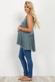 Green Ribbed Peplum Back Maternity Tank Top