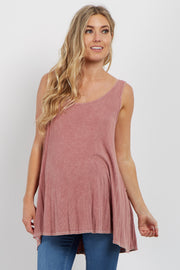 Pink Ribbed Peplum Back Maternity Tank Top