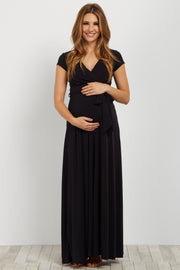 Black Solid Short Sleeve Maternity/Nursing Maxi Dress
