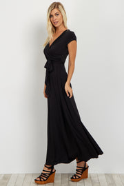 Black Solid Short Sleeve Maxi Dress