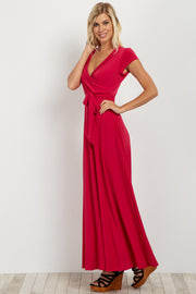 Fuchsia Solid Short Sleeve Maxi Dress