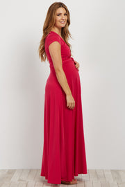Fuchsia Solid Short Sleeve Maternity/Nursing Maxi Dress