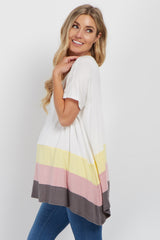 Ivory Multi Colorblock Dolman Sleeve Maternity Top