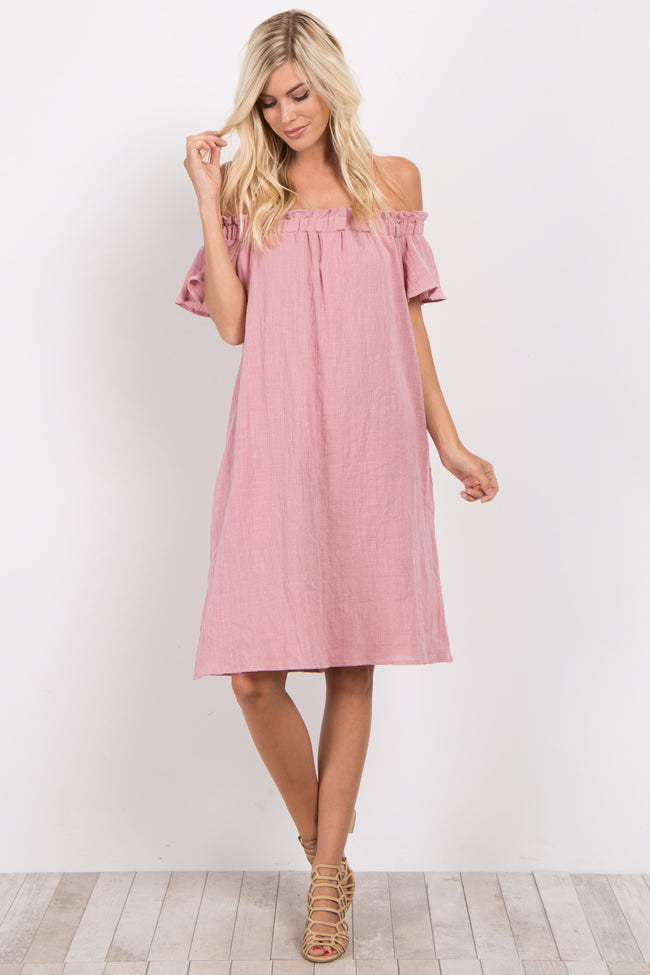 Pink Basic Off Shoulder Dress