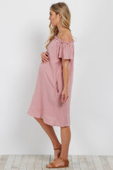 Pink Basic Off Shoulder Maternity Dress