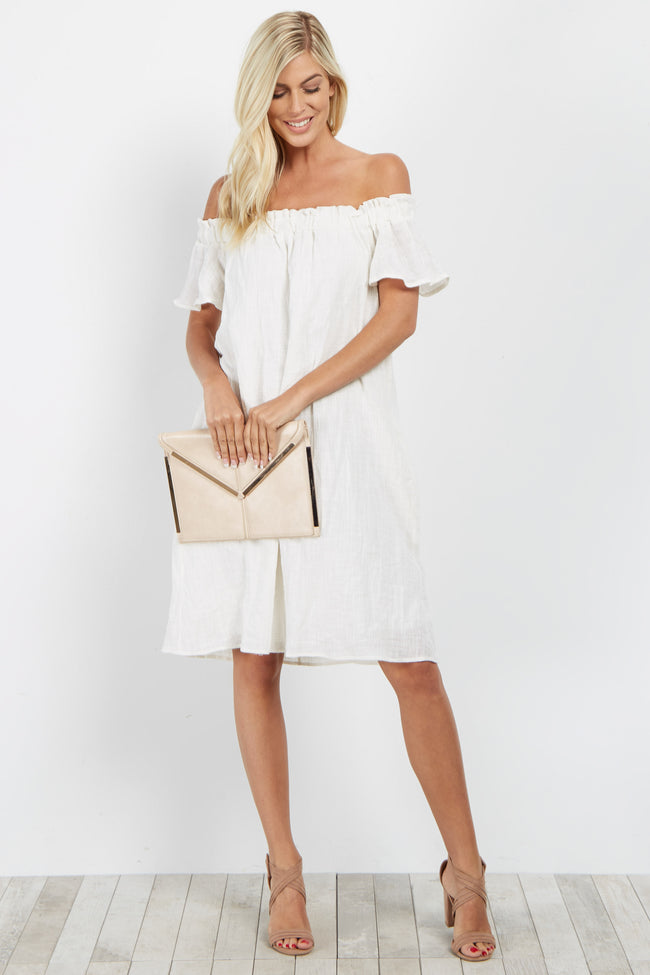 Ivory Basic Off Shoulder Dress