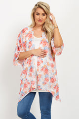 Coral Garden Rose Chiffon Maternity Cover Up