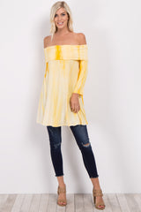 Yellow Tie Dye Off Shoulder Maternity Top