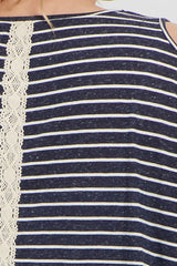 Navy Striped Crochet Trim Plus Maternity Top