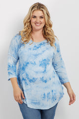 Blue Tie Dye Dolman Sleeve Plus Maternity Top