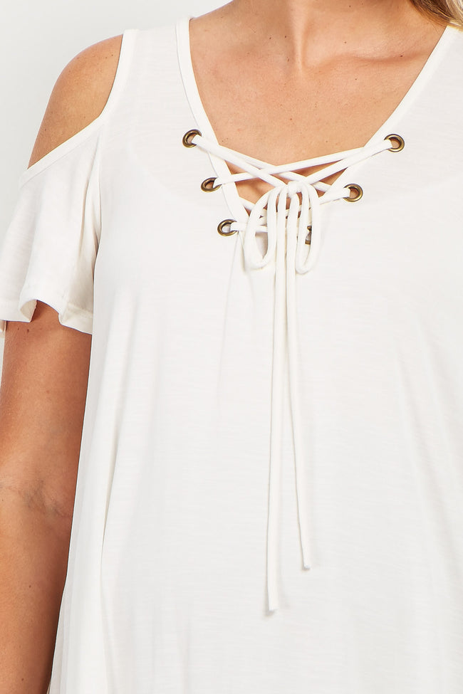 Ivory Lace-Up Cold Shoulder Maternity Top